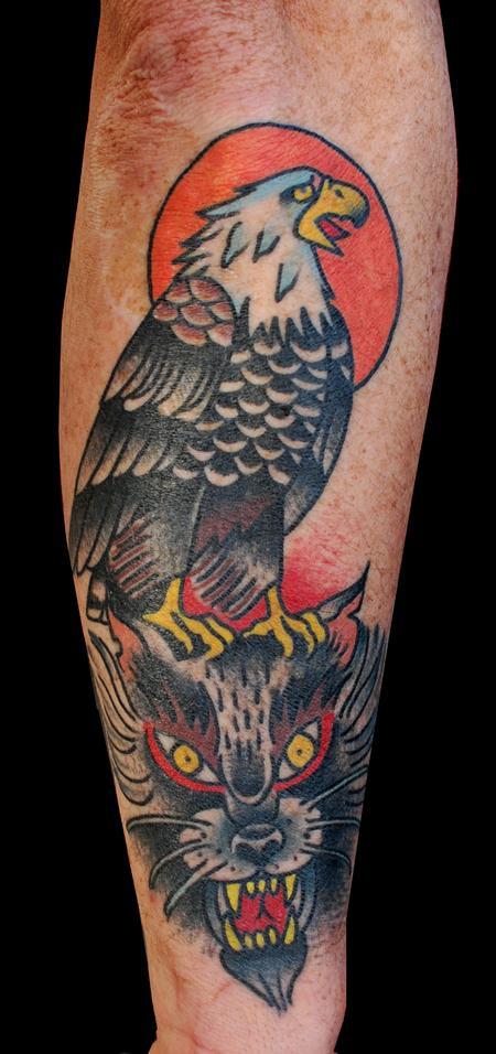 Tattoos - Folk Wolf and Eagle Totem - 89777