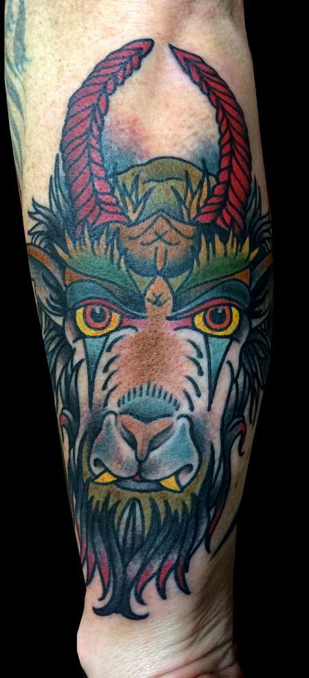 Tattoos - Traditional Goat Head Tattoo - 89780