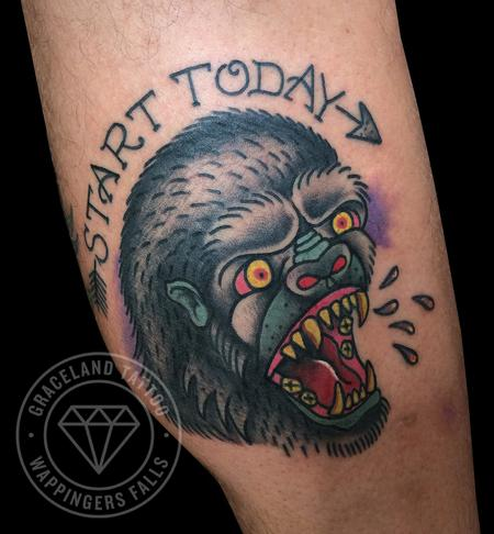Adam Lauricella - Traditional Gorilla Tattoo
