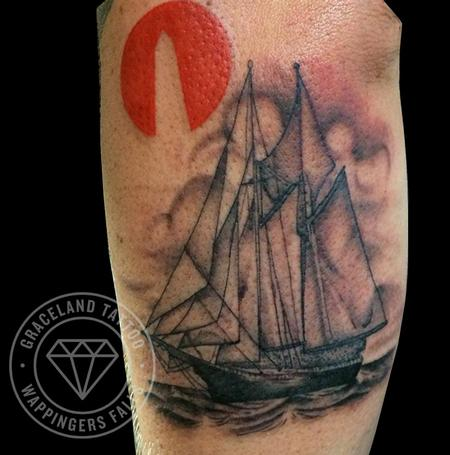 Clipper Ship and Obelisk Tattoo Design Thumbnail