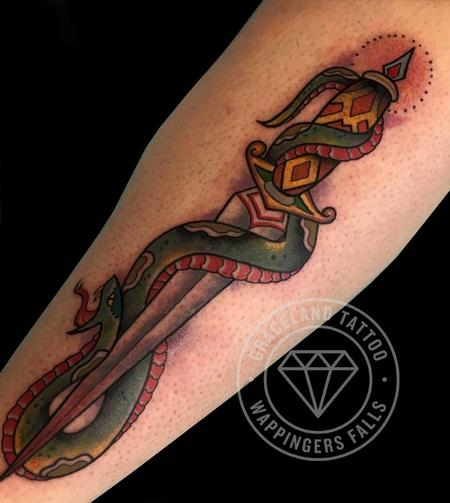 Tattoos - Snake and Dagger Tattoo - 122643
