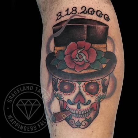 Tattoos - Sugar Skull Groom Tattoo - 122640
