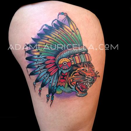 Tattoos - Traditional Tiger Chieftain Tattoo - 102391