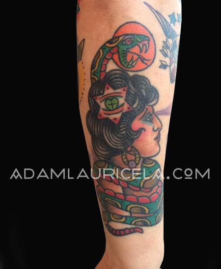 Adam Lauricella - Traditional Snake Lady Tattoo