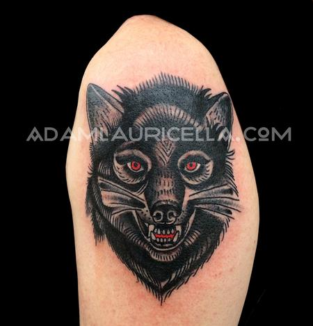 Tattoos - Folk Wolf Tattoo - 102301