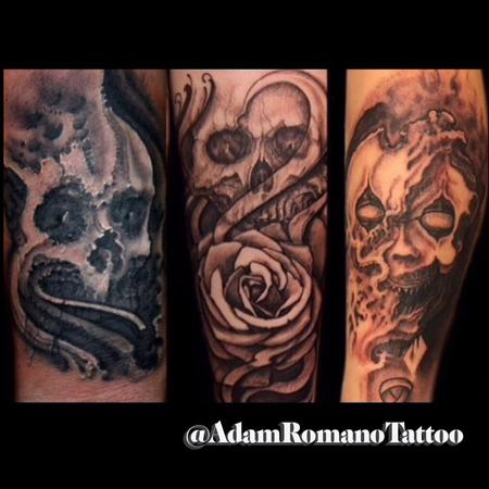 Tattoos - Collection of freehand black and grey Macabre tattoos  - 130137