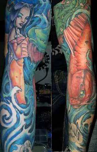 kolibri tattoo. koi sleeve tattoos.