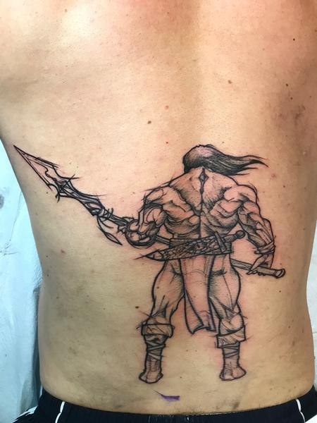 Tattoos - Sketchy barbarian start of full back - 130693