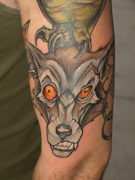 gutterpunk wolf Tattoo Design Thumbnail