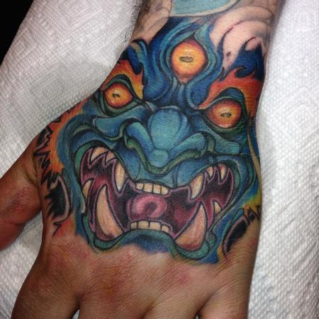 Kelly Gormley - Mara tattoo done forehand on a hand at the Detroit show 2015 by Kelly  Gormley
