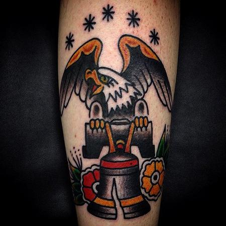 Tattoos - traditional eagle liberty bell tattoo - 129578
