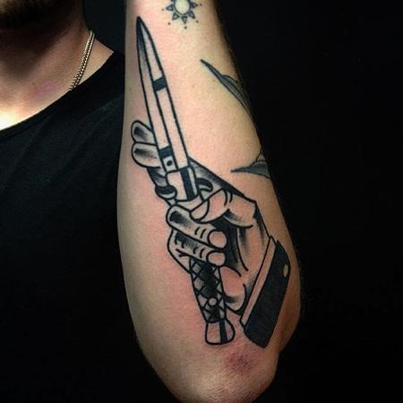 Tattoos - Traditional Hand Dagger Tattoo - 129583