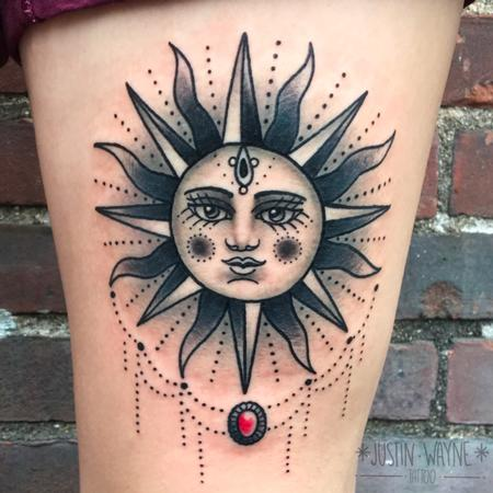 Traditional Sun Tattoo Tattoo Design Thumbnail