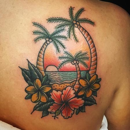 Tattoos - palm tree flower tattoo - 129445