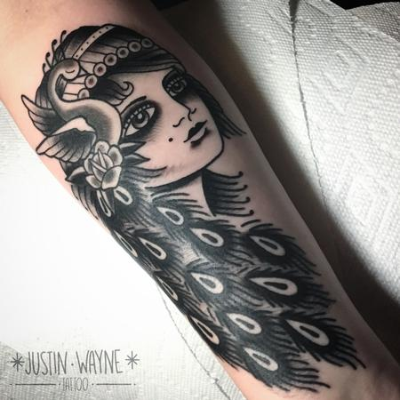 Traditional peacock girl head Tattoo Design Thumbnail