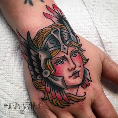 Tattoos - traditional viking girlhead tattoo - 128871