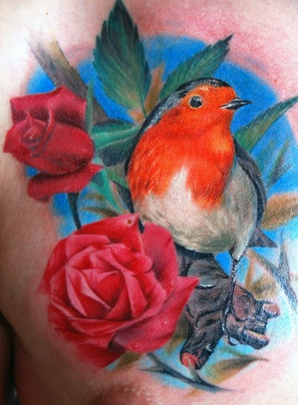 Tattoos - Color Bird and Roses Tattoo - 50603