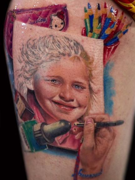 Alex De Pase - Child Portrait Tattoo
