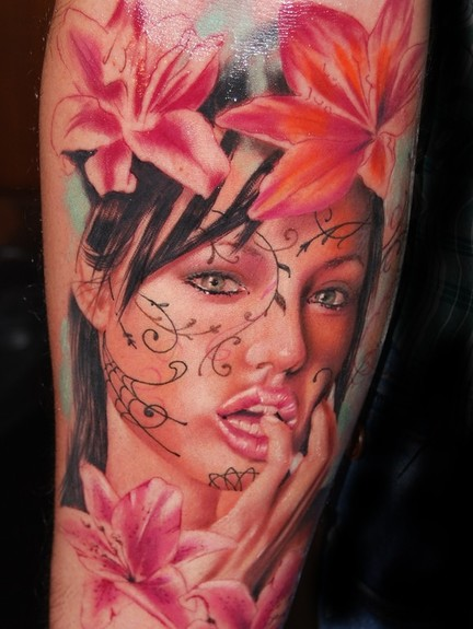 Tattoos - Girl and flowers - 50614