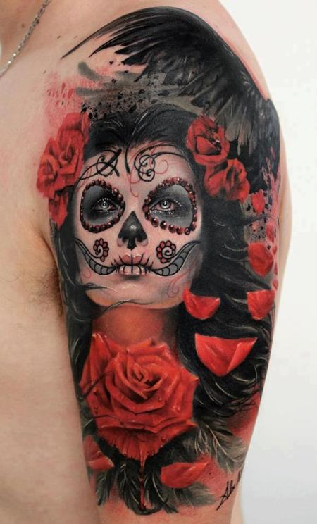 Day of the Dead Pinup Tattoo Design Thumbnail