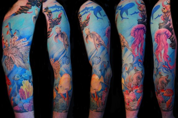 Tattoos - Underwater Sleeve Tattoo - 50602