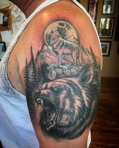 Tattoos - Bear and Wolf Nature Scene  - 126235
