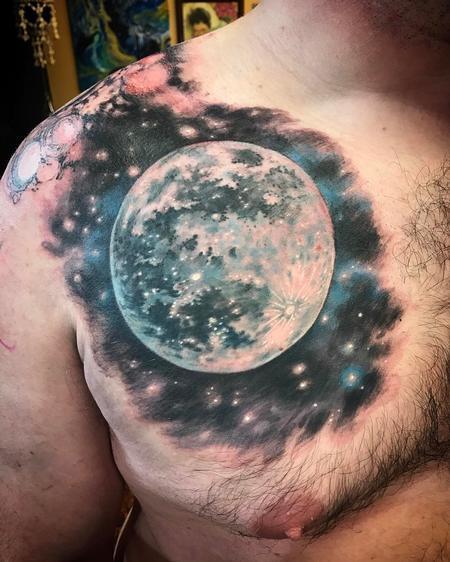 Tattoos - Realistic Moon on Chest - 126238