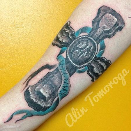 Tattoos - Memorial Rock Sculpted Cross with Teal Ribbon - 95916