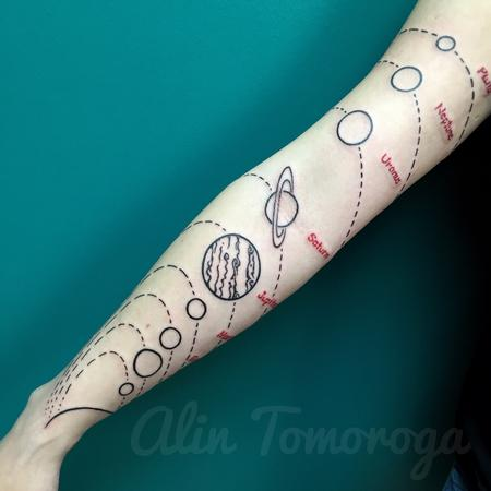 Solar system Tattoo Design