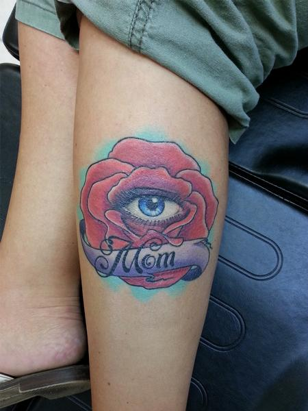 Tattoos - All Seeing Eye and Rose for Mom - 103733