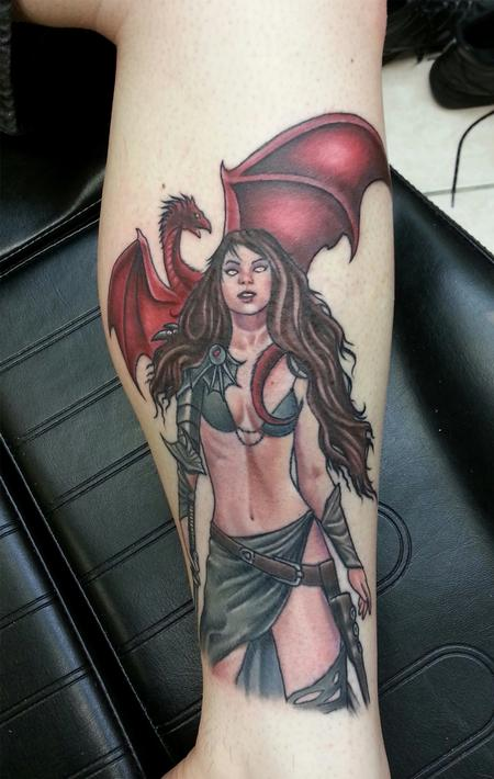 Tattoos - Medieval Warrior Woman and Dragon - 103734