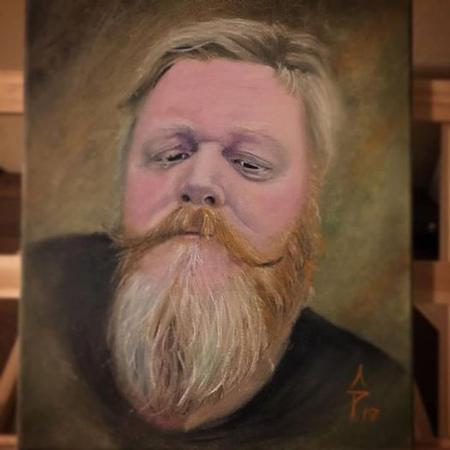 Tattoos - Oil painting of Mr Brad and his beard - 125131