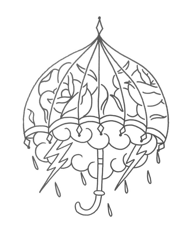 Line Art Umbrella : Line drawing by lazlow original art