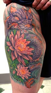 Tattoos - Dragon and Flowers - 14941