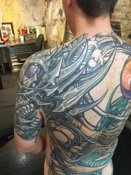Tattoos - Biomech Back and Shoulder Tattoo - 114801