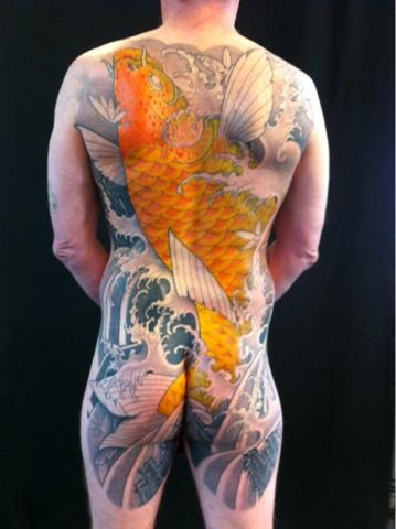 Andre Malcolm - Golden Koi Backpiece Tattoo
