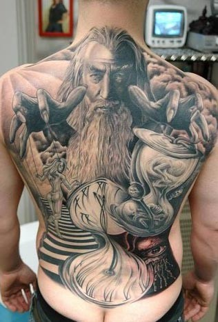 Andy Engel - Wizard Back Tattoo