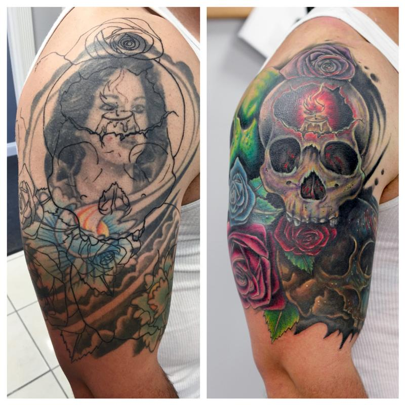 Before and after skull rose cover up by angel caban for How to cover up tattoos for work