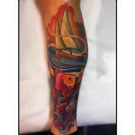 Tattoos - Boat and Fish Tattoo - 110118