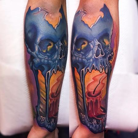 Tattoos - skull candle tattoo - 112161