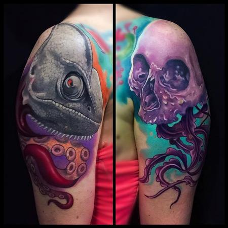 Tattoos - Skull and Chameleon tattoo - 112163
