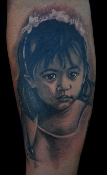 Tattoos - Black and Gray tattoos - Portrait of daughter