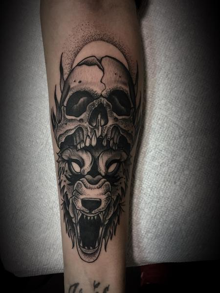 Tattoos - Wolf and skull - 133928
