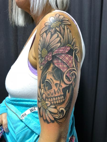 Tattoos - Skull with Bandana amongst the Daisies..  - 132929