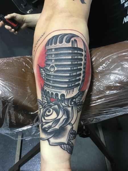 Tattoos - Old Microphone and Rose - 133904