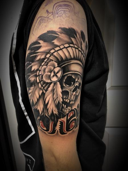 Tattoos - Native American skull and tribal - 133929