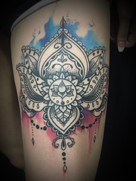 Tattoos - Watercolor lotus mandala - 127407