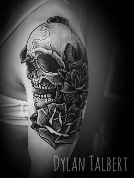 Tattoos - Skull n roses - 130543