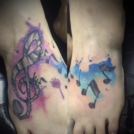 Tattoos - Watercolor music notes - 127753