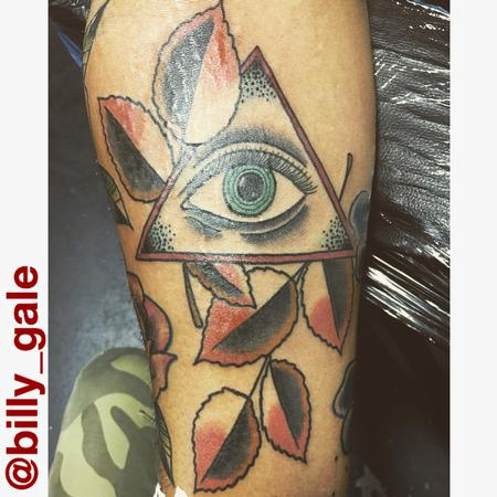 Tattoos - All Seeing Eye with Fall colored leaves.. - 129211